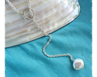 Sterling Silver & Pearl Lariat Necklace