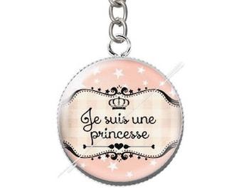 Keychain resin cabochon I'm a Princess