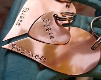 Keychain and Pet tag set-Three piece set keychain-Parent and Pet keychain set-Heart keychain set-Anniversary keychain-Family keychain set
