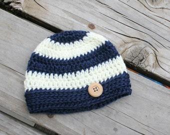 Baby Boy Hat - Boy Hats - Striped Boy Hat - Baby Boy Photo Prop Hat - Boy Hat - HIpster Boy Hat - Baby Shower Gift -  by JojosBootique