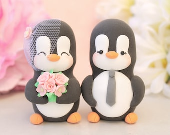 Lesbian gay Penguin cake toppers - same sex wedding 2 brides or 2 grooms - homosexual pride girls women wedding gift pink animals figurines