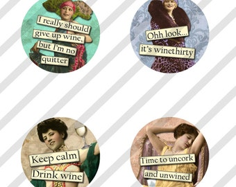 """Digital Collage Sheet, Circles, Bottle Caps, 1"""", 1.25"""", 1.5"""", 2"""" and 3"""" Sized Funny Wine Ladies, Round, (Sheet no. FS208) Instant Download"""