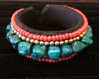 Cuff Bracelet with Gold Beads and Turquoise Stones - Orangish Red or Black Beads