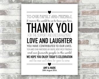 PRINTABLE Digital File - Wedding Thank You Sign 8x10 or 6x8 - Black - Place Setting Table Decor Wedding Guests