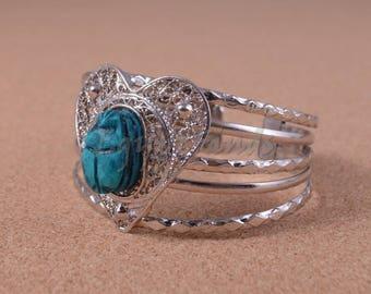 Egyptian Heart Filigree Silver Plated Scarab Bracelet