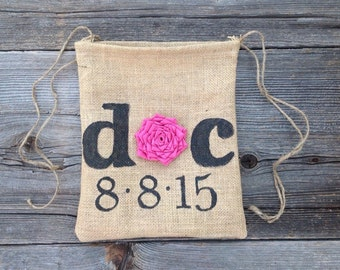 Personalized Dollar Dance Bag, Spring Wedding Bag, Brides Bag, Rustic Wedding, Burlap Bag, Drawstring Bag, Tote Bag, Bridal Shower Gift