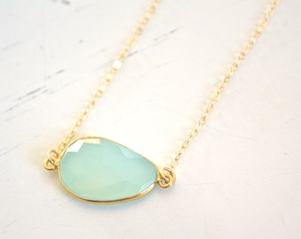March Birthstone  • Gold Necklace  • Chalcedony Necklace  • Aqua Necklace  • Dainty Gold Necklace  • Bridesmaid Necklace  • March Birthday