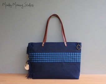 Zipper Tote with Buffalo Plaid Accent, Navy Waxed Canvas Gingham Tote, Personalized Checks Tote Bag with Leather Straps, Faux Suede Tassel