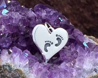 Footprint Charm, Baby Feet Charm, Baby Feet on Heart Charm, Sterling Silver Baby Feet Charm, Baby Feet Pendant, New Baby Charm