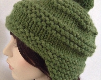 Chunky Earflap Hat- Hand Knit, adult size, Olive Green, washable, great gift! Black Friday