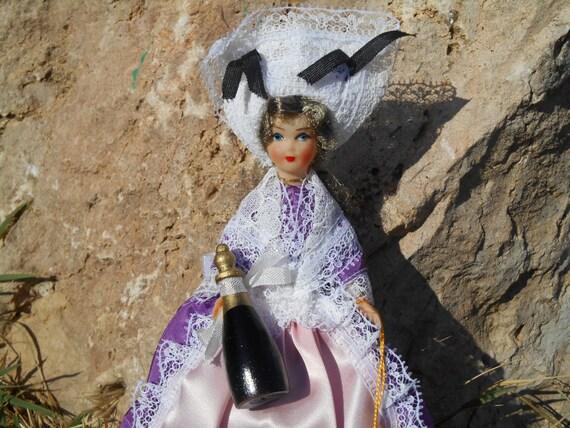 Champagne Bottle Folk Doll Babyflex French Vintage Miniature Doll Lace Hat Shawl Hand Painted Face Apron Purple Dress #sophieladydeparis