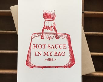 Hot Sauce Letterpress Card