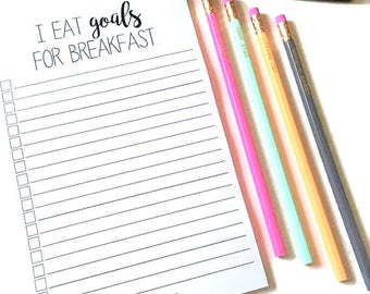 I Eat Goals for Breakfast Notepad // To Do List // To Do Notepad // Funny To Do List // Funny Notepad // Magnetic Notepad // Goal Checklist