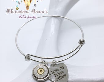 Bullet Casing/Love police Stackable Bangle Bracelet