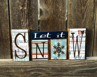 Winter wood blocks--Let it Snow blocks
