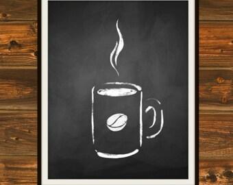 Steaming Cup O' Joe - Chalkboard, Chalkboard Print, Coffee, Steaming Coffee, Black and White, Chalk, Cup of Coffee, Java, Coffeehouse Print