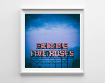 Montreal Art Farine Five Roses Blue Wall Art - Blue Home Decor, City Art - Small and Oversized Art Prints Available, Fits IKEA Ribba Frames