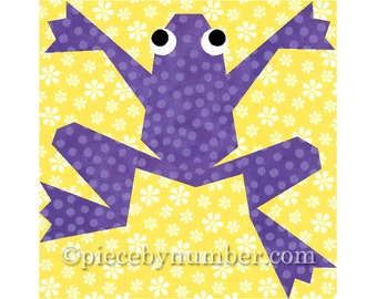 Kiriki the Frog quilt block, paper pieced quilt patterns, instant download animal patterns, frog quilt patterns, animal quilt patterns, PDF