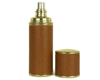 Vintage Hermes Caleche EDT Refill Bottle & Refillable Leather Case. Luxury French Gifts For Her.