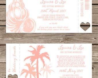 Destination wedding - Caribbean Island - Boarding pass invitation