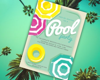 Summer Pool Party Invitation Template | Editable PDF | Pink, Yellow, and Aqua