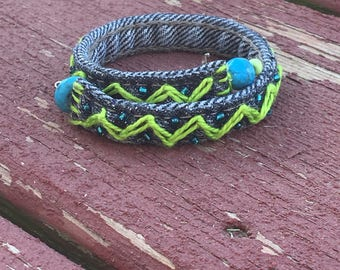 Re-Purposed Denim Hand-Embroidered Bracelet ~ Lime Green Chevron