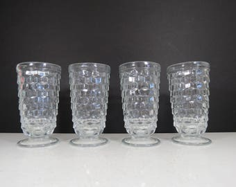 Whitehall Tumblers Set // Vintage Set of Four Clear Glass Drinking Glasses Cube Cubist Pattern Collectible Mid Century Retro Serving Set