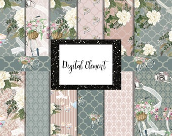 Digital Paper, White Peonies Paper, Seamless Floral Paper, Shabby Digital Paper, Wedding Design Paper, Backgrounds. No. P211