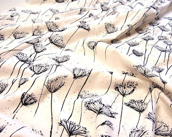 Queen Anne's lace hand printed fabric medium weight  cotton 1 yard
