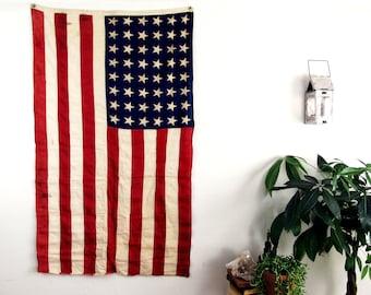 vintage American flag,vintage flag,antique American flag,48 stars,3 x 5 flag,stars and stripes,48 star flag,red white and blue flag