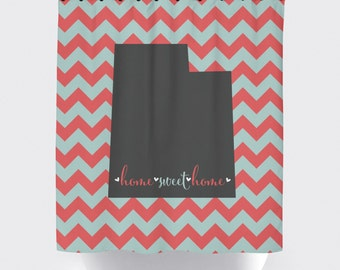 coral and mint, custom state print shower curtain, fabric shower curtain, state home sweet home shower curtain, gray and white stripes