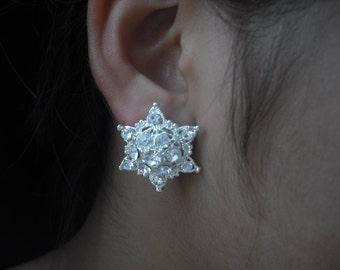 Brianna Collection, Bridal Earrings, Rhinestone Crystal Star Flower earrings, Vintage Style Bridal Earrings, Weddng Jewelry