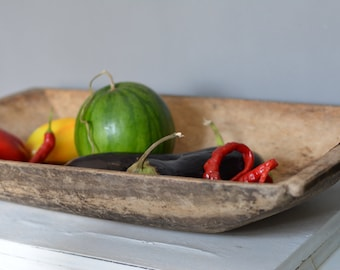 Antique primitive wooden dough bowl - Antique natural wood - Hand carved - Country cottage chic - Rustic home decor.