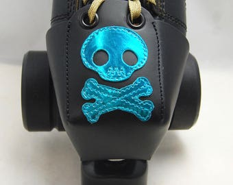 Leather Toe Guards with Blue Metallic Skulls and Crossbones