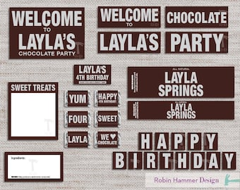 Personalized Chocolate Party Package, Printable Chocolate Party Decorations, Chocolate Themed Party Decor Kit, Printable Chocolate Party Kit