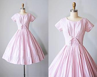 1950s Dress - Vintage 50s Dress - Pink Pastel Stripe Cotton Full Skirt Sundress w Corset Waist - Candy Shop Dress