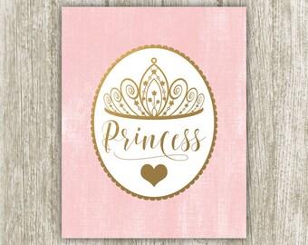 Gold Princess Printable, Gold Crown, 8x10 Instant Download, Princess Print Girl's Nursery Decor, Princess Wall Decor, Pink Nursery Wall Art