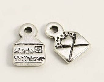 Set of 20 charms letters - envelopes - letters - message - love - silver T34