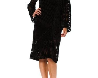 1980s Geometric Burnout Silk Velvet Long Sleeve Black Dress SIZE: L, 10