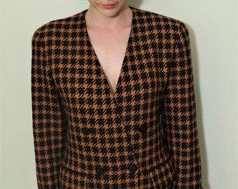 Vintage 80's Designer Albert Nipon Wool Blazer Dogtooth Pepita Tailored Jacket Size Medium