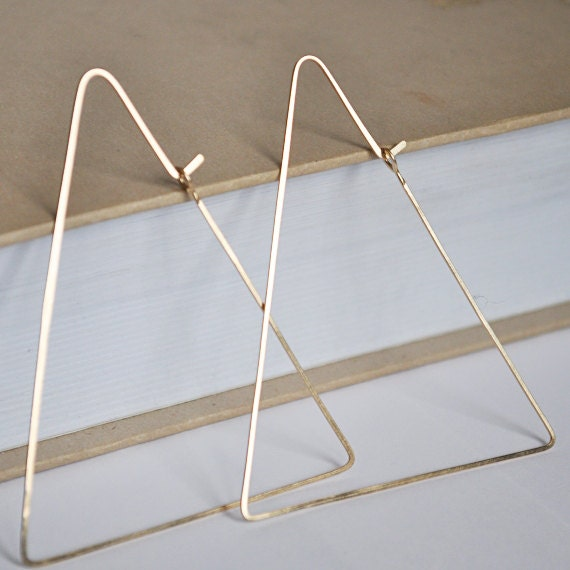 Gold Triangle Hoops Geometric Hoop Earrings 14k Gold