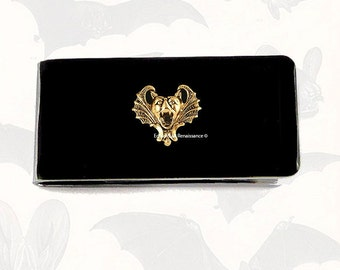 Dracula Bat Money Clip Inlaid in Hand Painted Glossy Enamel Gothic Victorian Money Holder Personalized and Color Options