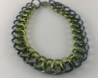 Sale 25% off Green and Gray Half Persian Chainmaille Bracelet