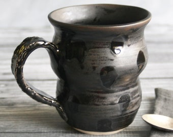 Modern Curvy Satin Black Mug  with Shiny Black Dots and Decorative Handle Handcrafted Pottery Coffee Cup Stoneware Made in USA