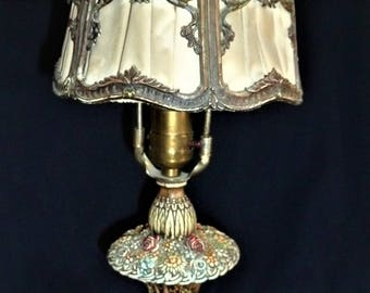 Barbola Antique Table Lamp Lyre Shade French Boudoir Cast Metal Victorian Scarce