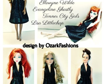 One Size Fits ALL - Short Black Dress for Tonner Tyler Wentworth, Ellowyne Wilde, City Girls, Evangeline Ghastly dolls