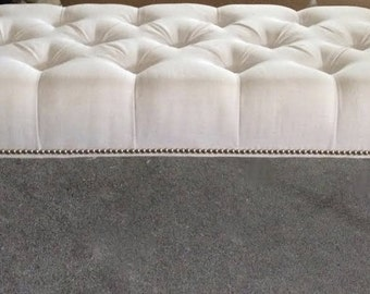 """Decorative Tufted Bench with Nailhead Border- 60"""" long"""