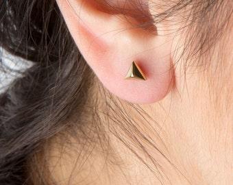 Gold pyramid studs, 14k pyramid earrings, Rose  pyramid posts, Rose pyramid studs, Pyramid earrings,Pyramid studs