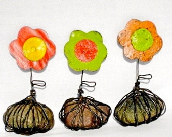 Recycled Metal Flowers Trio Rustic Home Decor
