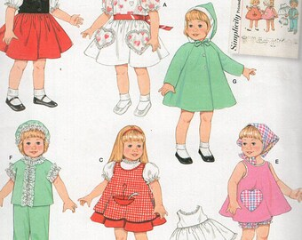 Vintage Dresses Doll Clothes Pattern, Simplicity 2454- Vintage 1950s-18 inch Doll Clothes- fits american Girl Dolls